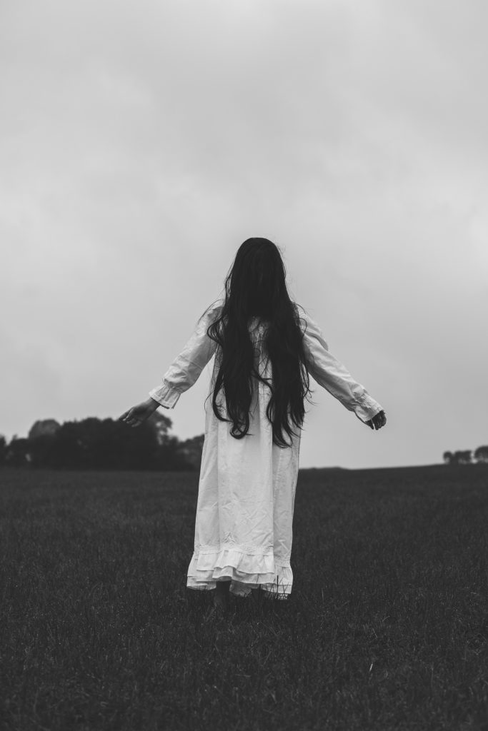 Ghost girl woman in white horror photography