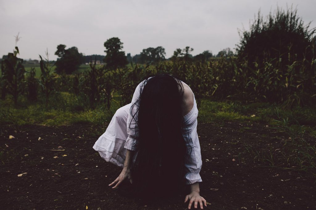 White lady ghost horror photography
