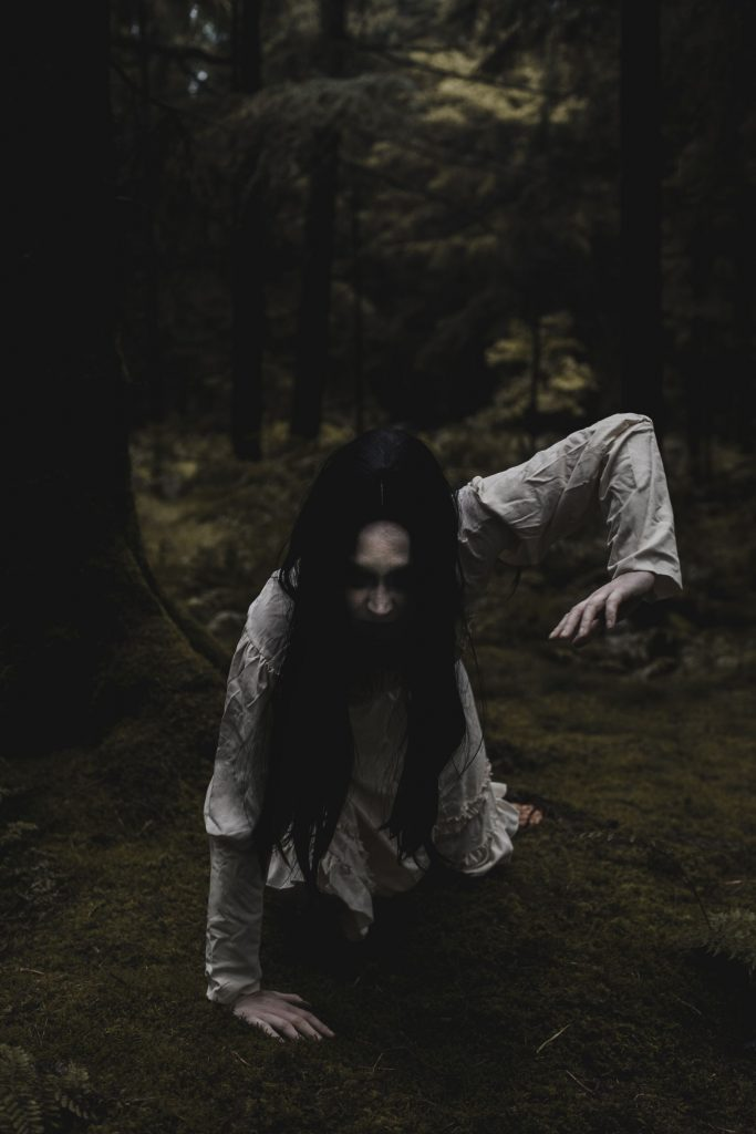 Creepy Ghost In White Dress With Long Black Hair - Inspired By Samara From The Ring Eerie Stockhill Woods Horror Photography